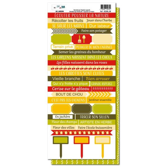 Planche de mots à découper collection Au Jardin DIY & CIE