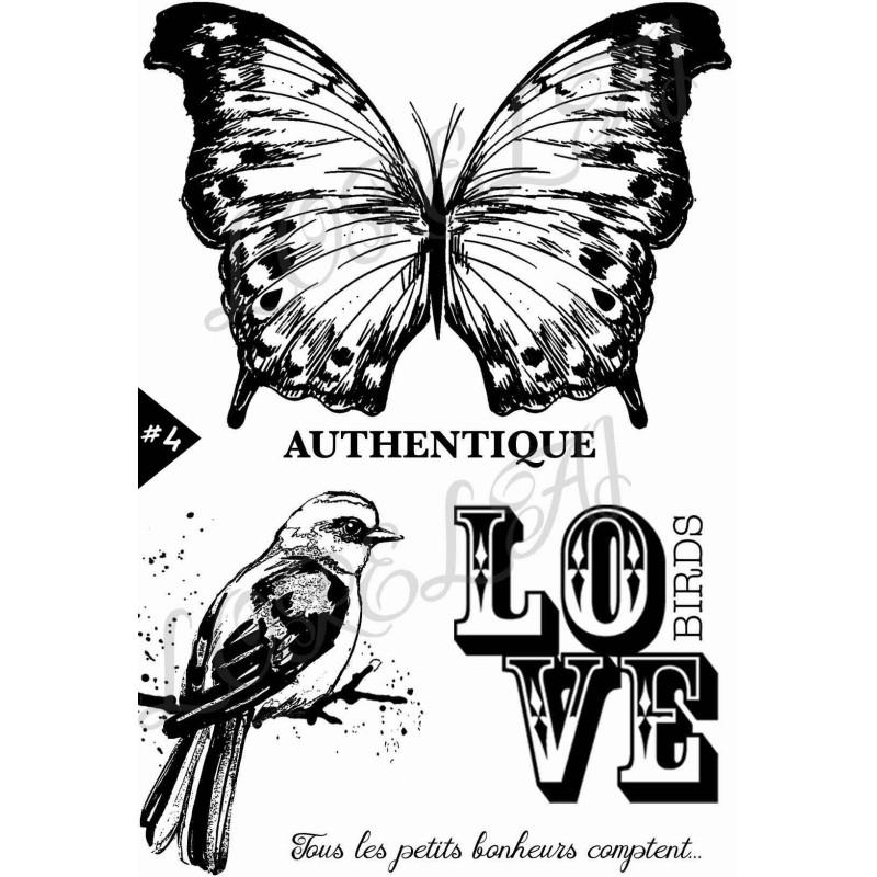 Set 5 tampons clear Papillon Authentique collection Esprit Bucolique LORELAÏ DESIGN