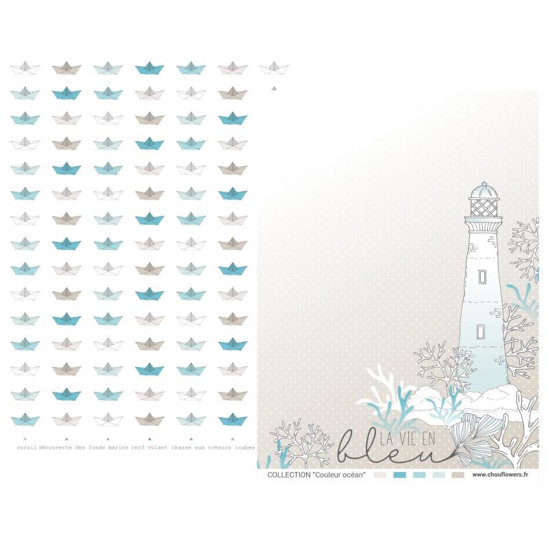 Set 7 papiers scrapbooking A4 collection Couleur Océan CHOU & FLOWERS