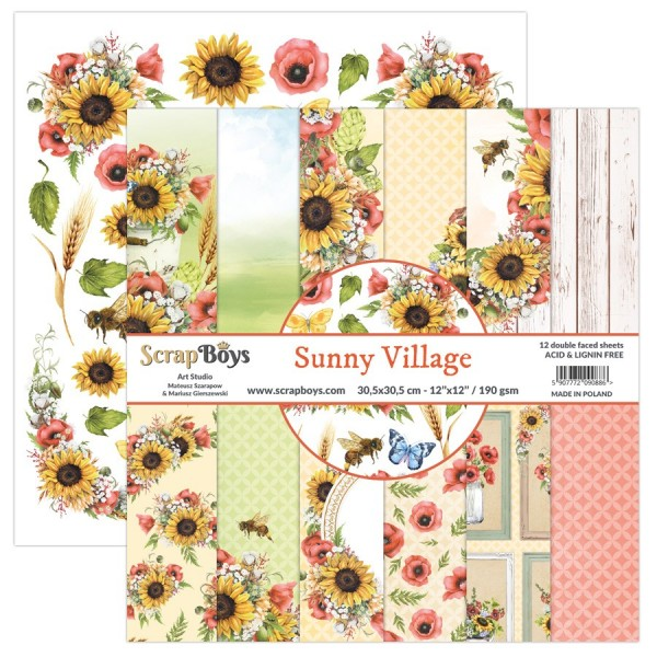 Bloc 12 papiers scrapbooking 30 x30 collection Sunny Village SCRAPBOYS