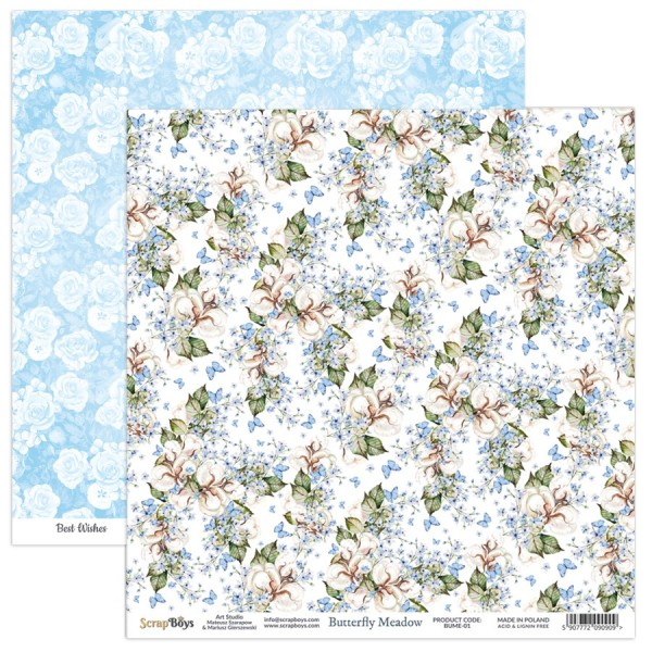 Bloc 12 papiers scrapbooking 30 x 30 collection Butterfly Meadow SCRAPBOYS