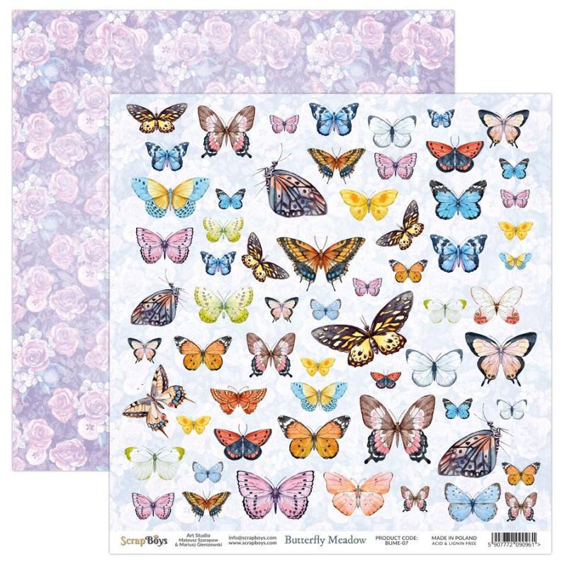 Papier scrapbooking 30 x 30 motifs à découper collection Butterfly Meadow SCRAPBOYS