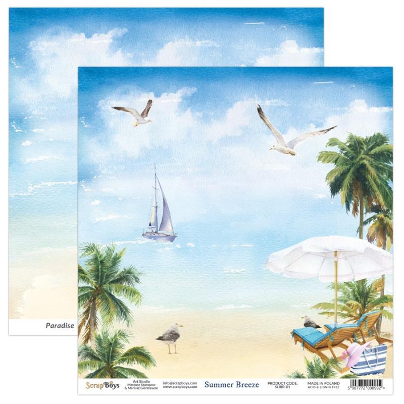 Bloc 12 papiers scrapbooking 30 x 30 collection Summer Breeze SCRAPBOYS