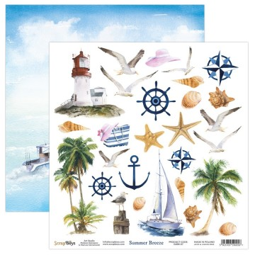 Papier scrapbooking 30 x 30 motifs à découper collection Summer Breeze SCRAPBOYS