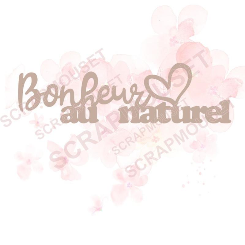 Mot Bonheur au naturel en carton bois...