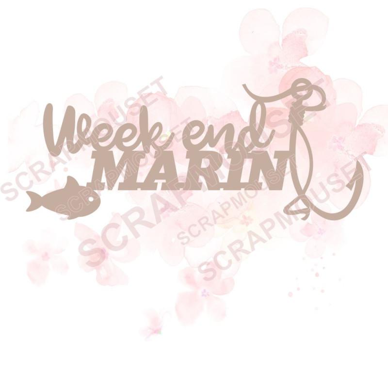 Mot Week-end marin en carton bois SCRAPMOUSET
