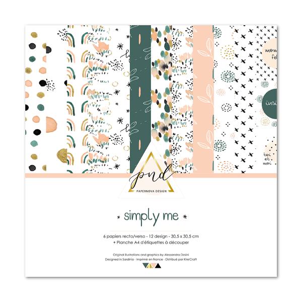 Set 6 papiers scrapbooking 30 x 30 collection Simply Me PAPERNOVA DESIGN