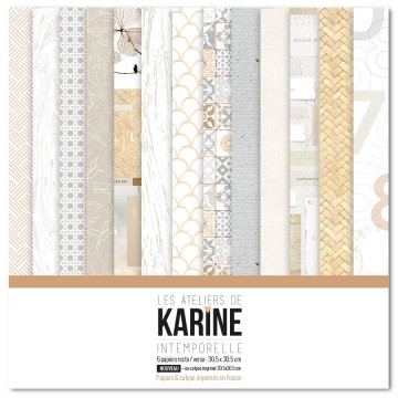 Set 6 papiers scrapbooking 30 x 30 collection Intemporelle LES ATELIERS DE KARINE