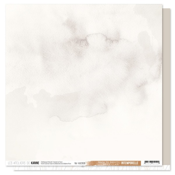 Feuille Back to Basics 30 x 30 beige clair collection Intemporelle LES ATELIERS DE KARINE