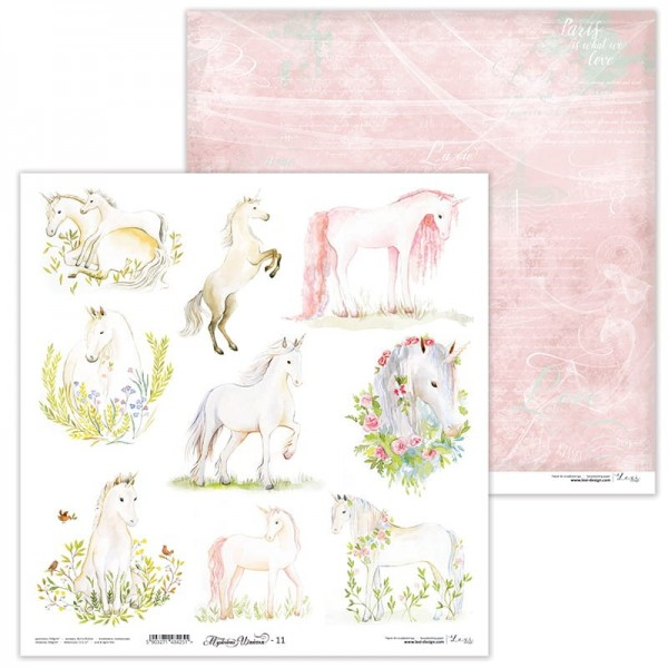 Set 11 papiers scrapbooking 30 x 30 collection Mysterious Unicorn LEXI DESIGN