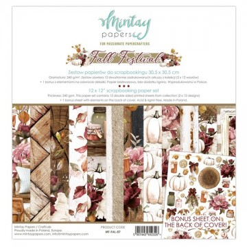 Bloc 12 papiers scrapbooking 30 x 30 collection Fall Festival MINTAY BY KAROLA