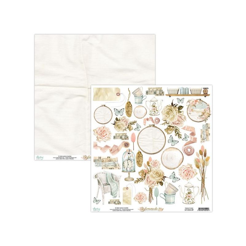 Feuille papier scrapbooking motifs à découper collection Homemade Mintay By Karola