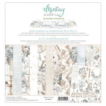 Bloc 12 papiers scrapbooking 30 x 30 collection Precious Moment MINTAY BY KAROLA