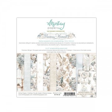 Bloc 24 papiers scrapbooking 15 x 15 collection Precious Moment MINTAY BY KAROLA
