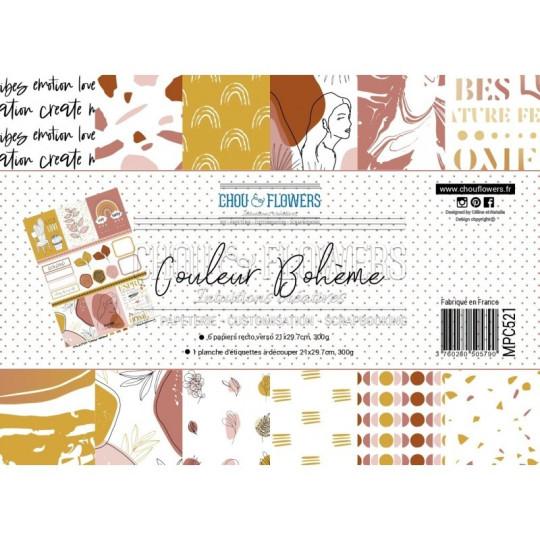 Set 7 papiers scrapbooking A4 collection Couleur Bohème CHOU & FLOWERS