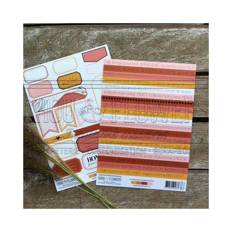 Set 2 planches d'étiquettes collection Couleur Bohème CHOU & FLOWERS