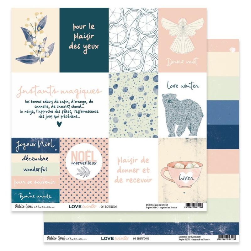 Set 6 papiers scrapbooking 30 x 30 collection Love Winter BEATRICE GARNI ILLUSTRATION
