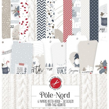 Set 6 papiers scrapbooking 30 x 30 collection Pôle Nord MES P'TITS CISEAUX
