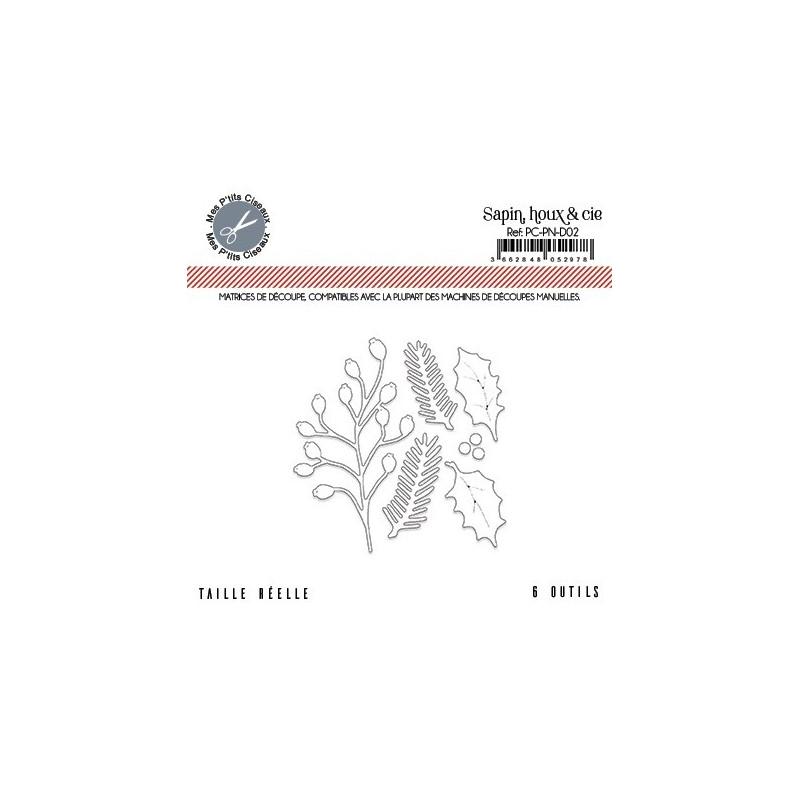 Set de 6 matrices de découpe Sapin, houx et Cie collection Pôle Nord MES P'TITS CISEAUX