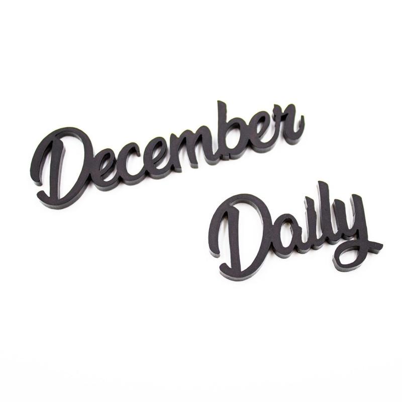 Mot december daily en acrylique noir scrapmouset