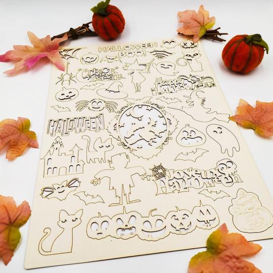 Ensemble de mots et motifs thème Halloween SCRAPMOUSET