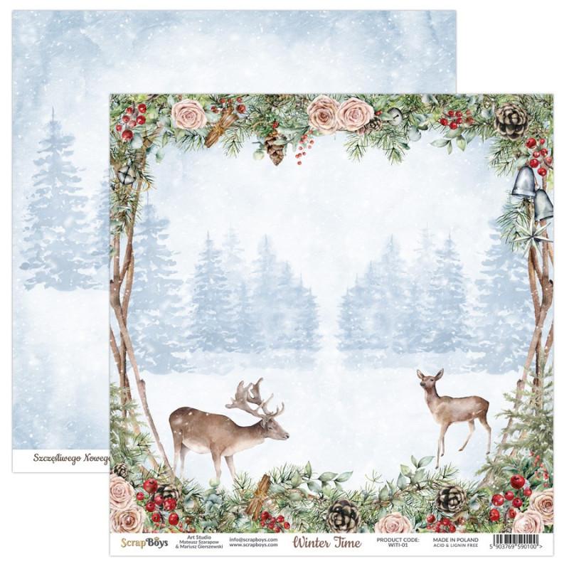 Set de 12 papiers scrapbooking 30 x 30 collection Winter Time SCRAPBOYS