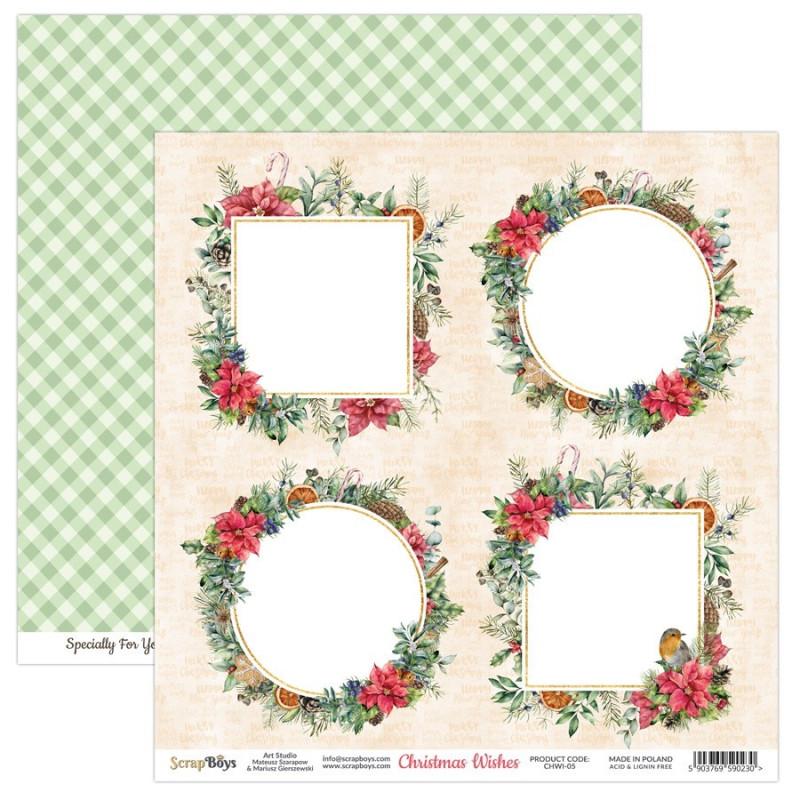 Set de 12 papiers scrapbooking 30 x 30 cm collection Christmas Wishes SCRAPBOYS