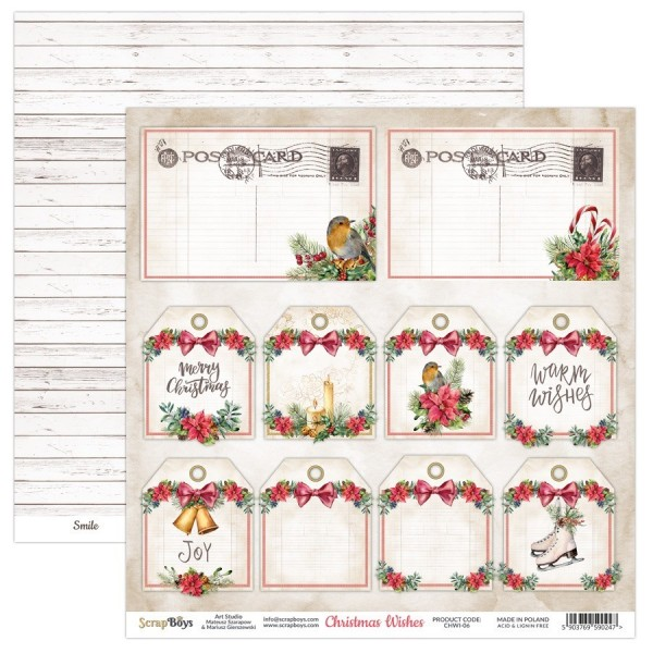 Bloc 24 papiers scrapbooking 15 x 15 collection Christmas Wishes SCRAPBOYS