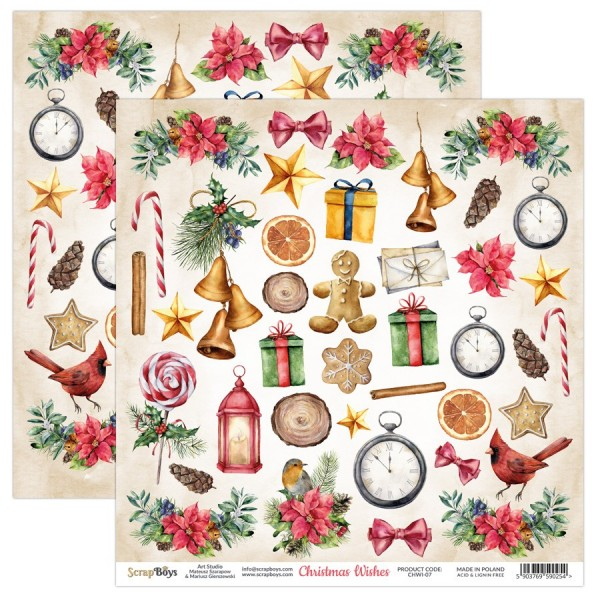 Feuille papier scrapbooking motifs à découper collection Christmas Wishes SCRAPBOYS