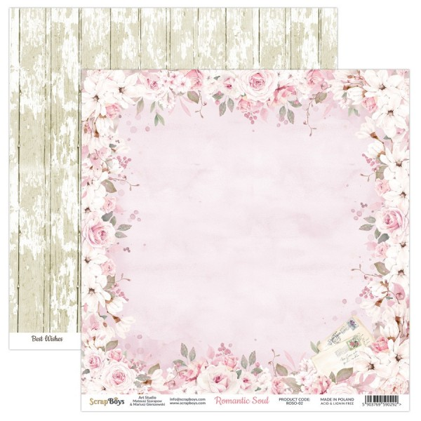 Bloc 24 papiers scrapbooking 15 x 15 collection Romantic Soul SCRAPBOYS