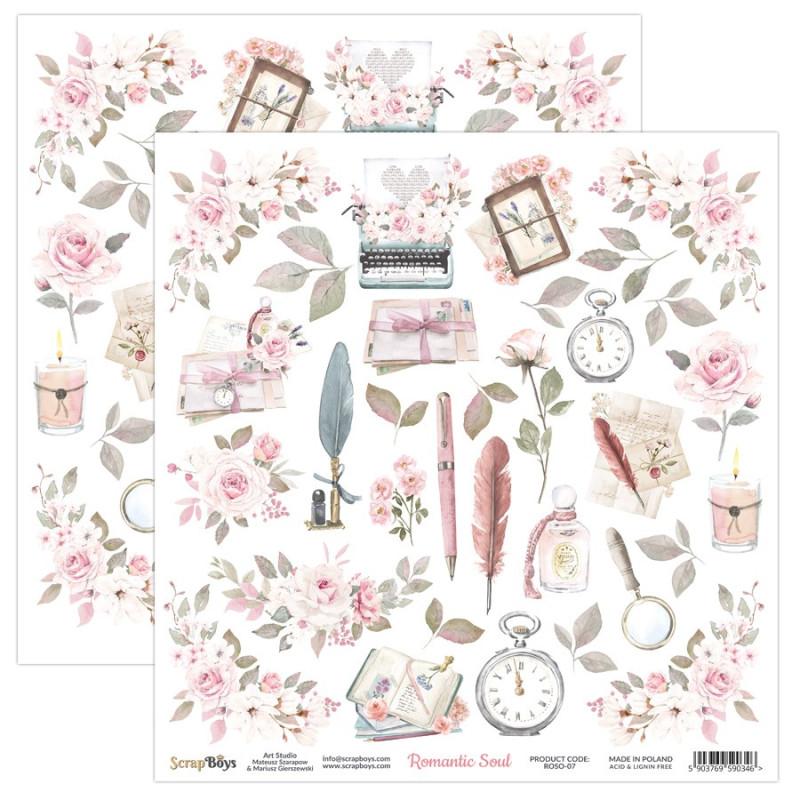 Feuille papier scrapbooking motifs à découper collection Romantic Soul SCRAPBOYS
