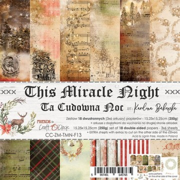 Set 18 papiers scrapbooking 15 x 15 collection This Miracle Night CRAFT O'CLOCK