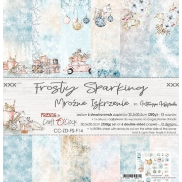 Set 6 papiers scrapbooking 30 x 30 collection Frosty Sparking CRAFT O'CLOCK