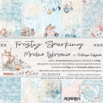 Set 18 papiers scrapbooking 20 x 20 collection Frosty Sparking CRAFT O'CLOCK