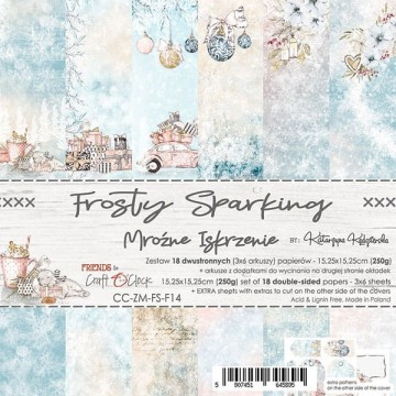 Set 18 papiers scrapbooking 15 x 15 collection Frosty Sparking CRAFT O'CLOCK