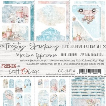 Set papiers scrapbooking Junk Journal extras set collection Frosty Sparking CRAFT O'CLOCK