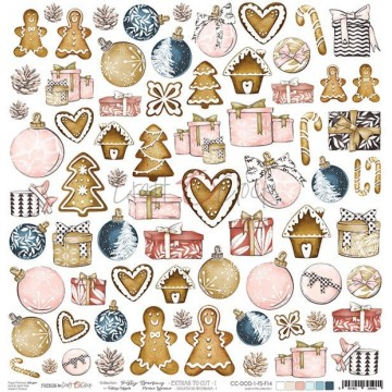 Feuille 1 papier scrapbooking motifs à découper collection Frosty Sparking CRAFT O'CLOCK