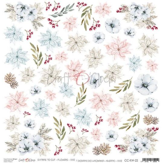 Feuille papier scrapbooking Poinsettias et Feuilles d'hiver CRAFT O'CLOCK
