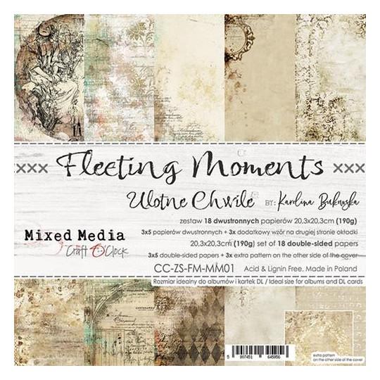 Set 18 papiers scrapbooking 20 x 20 collection Fleetings Moments CRAFT O'CLOCK