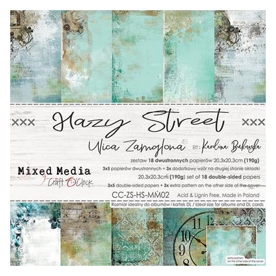Set 18 papiers scrapbooking 20 x 20 collection Hazy Street CRAFT O'CLOCK