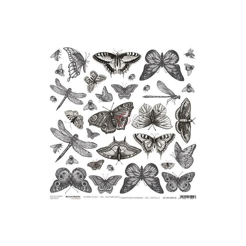 Feuille papier scrapbooking motifs à découper Butterflies 2 CRAFT O'CLOCK