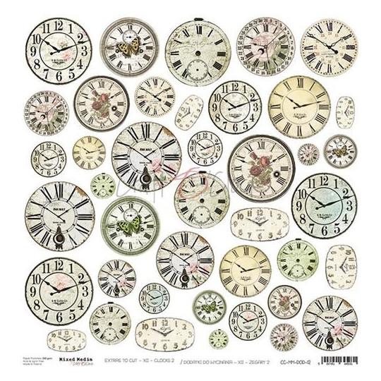 Feuille papier scrapbooking motifs à découper Horloges CRAFT O'CLOCK