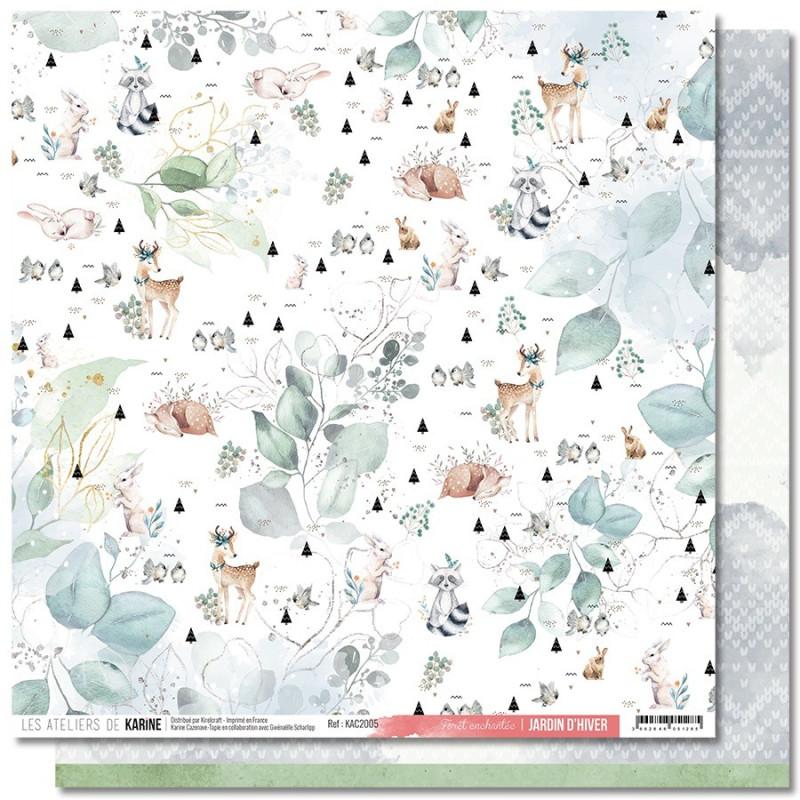 Set 6 papiers scrapbooking 30 x 30 collection Jardin d'Hiver LES ATELIERS DE KARINE