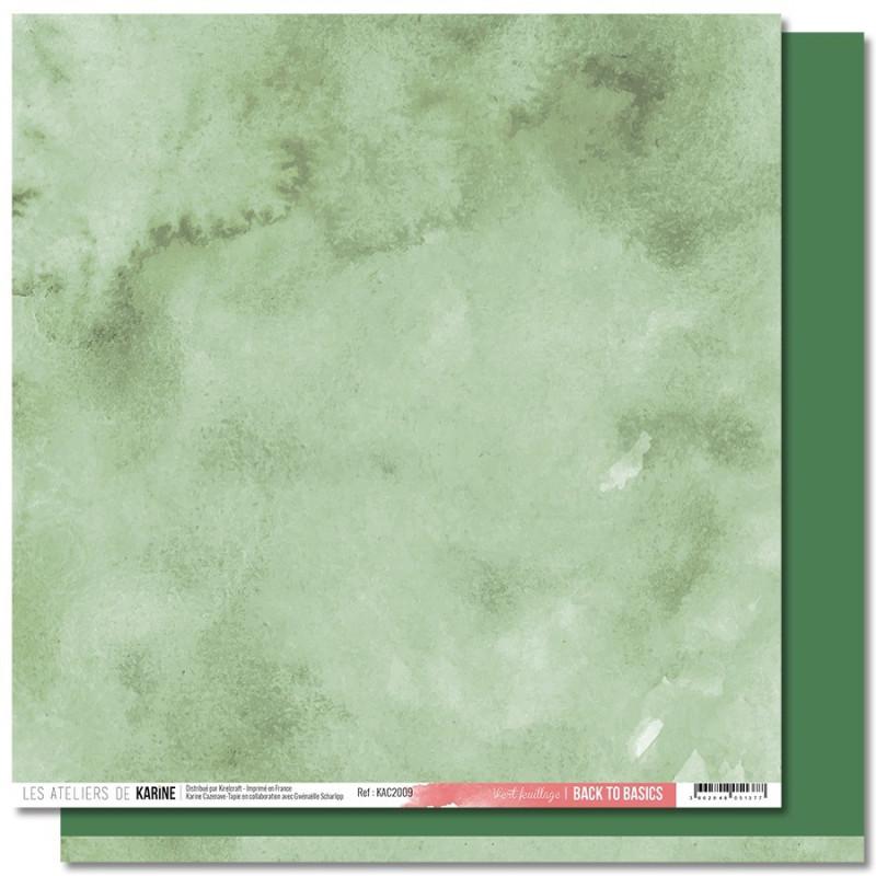 Feuille Back to Basics 30 x 30 Vert feuillage collection Jardin d'Hiver LES ATELIERS DE KARINE