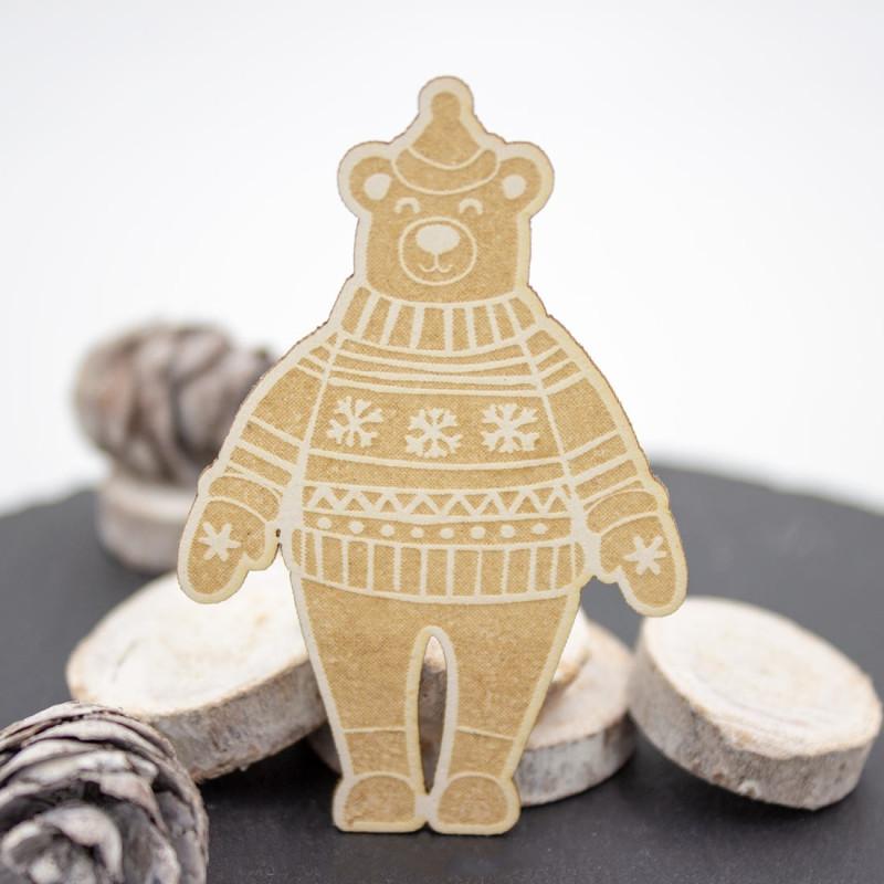 Chipboard ours avec bonnet et pull en carton bois SCRAPMOUSET