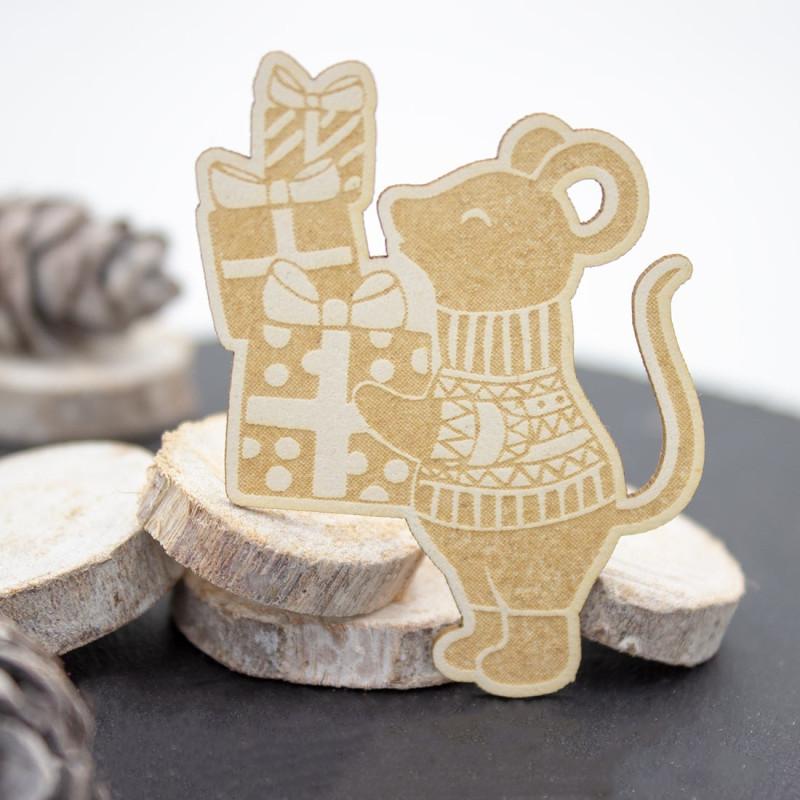Chipboard souris et ses cadeaux en carton bois SCRAPMOUSET