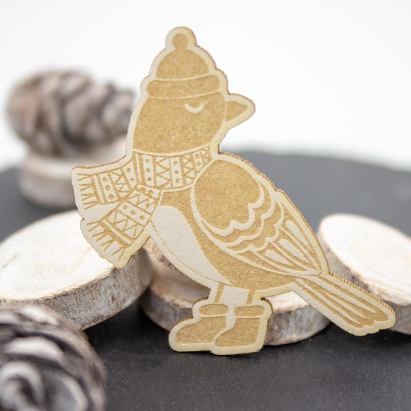 Chipboard oiseau avec écharpe et bonnet en carton bois SCRAPMOUSET
