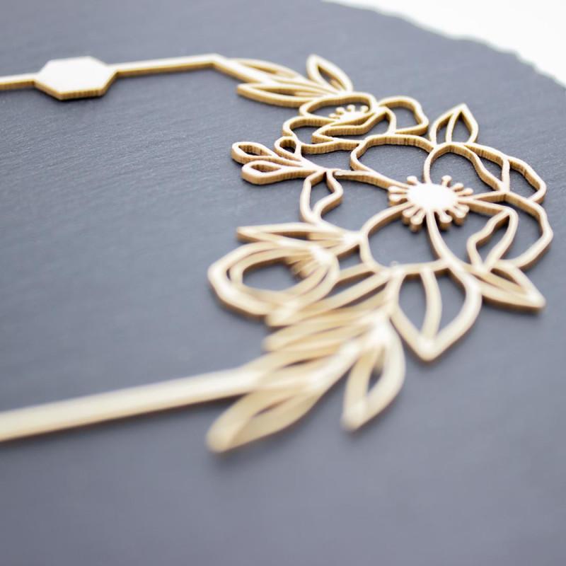 Cadre floral dream avec hexagones et papillon en carton bois SCRAPMOUSET