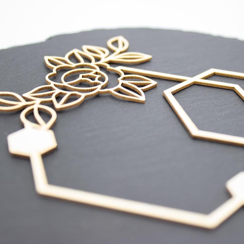 Chipboard Novia avec fleurs et formes hexagonales en carton bois SCRAPMOUSET