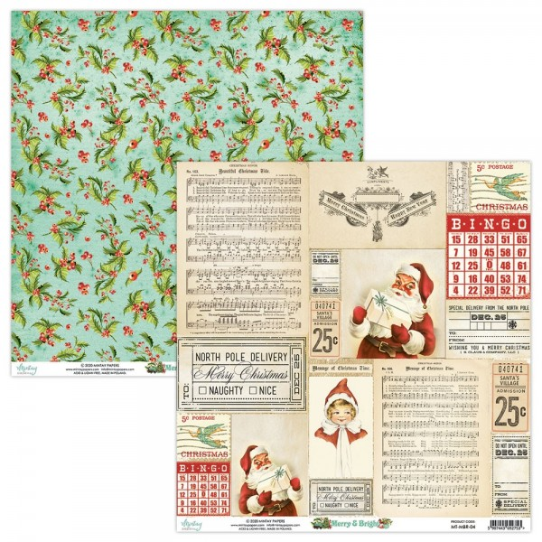 Set de 12 papiers scrapbooking 30 x 30 collection Merry And Bright MINTAY BY KAROLA
